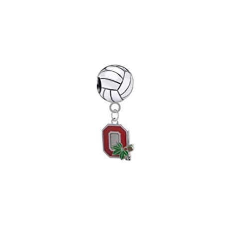 Ohio State Buckeyes Style 2 Volleyball 3D Universal European Bracelet Charm ()