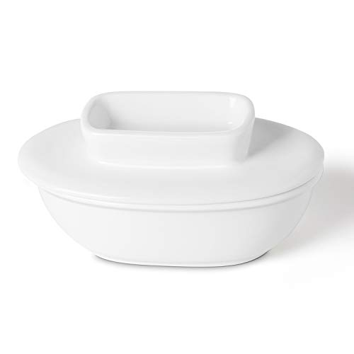 Butter Boat, Butter Keeper with Water Line - Perfect to Keep Your Butter Soft and Spreadable, Porcelain, White - Better Butter & Beyond
