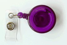 - ID Badge Reel, Translucent Purple, 30'' Retractable Nylon Cord, Metal Slide Belt Clip, Sold Individually
