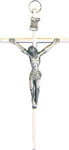 "Rosarybeads4u Wall Hanging Silver Coloured Metal 4 1/2"" Crucifix Cross Bw6201"