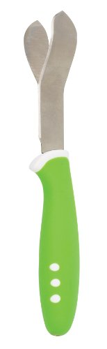 The World's Greatest Mango Slicer, Twin Stainless Steel Blades and Contoured Handle, Green
