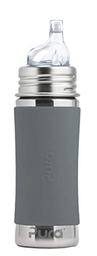 Pura Kiki 11 oz / 325 ml Stainless Steel Sippy Cup with Silicone XL Sipper Spout & Sleeve, Slate