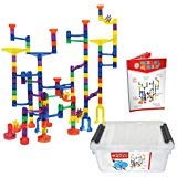 Maze of Marbles 125-Piece Marble Run Toy Set - Educational Building Block Play Track Game – STEM Construction Learning Toys for Kids 4 5 6 Years Old + 25 Glass Marble Balls with Storage Box Container -