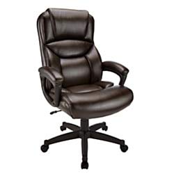Realspace Fennington Bonded Leather High-Back Executive Chair, Brown