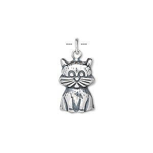 Charm antiqued sterling silver 15x10mm (Antiqued Cat)