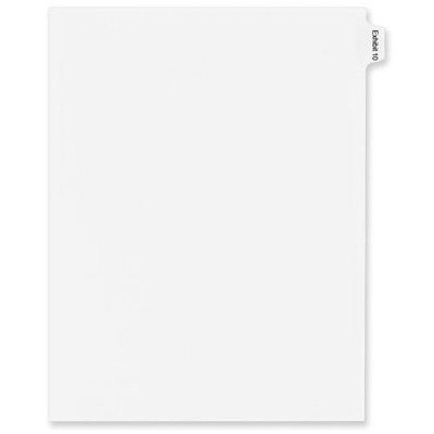 Avery Consumer Products Products - Index Divider, Exhibit 10, Side Tab, 25/PK, White - Sold as 1 PK - Dividers are ideal for index briefs, legal exhibits, mortgage documentation files -