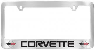 c4 corvette license plate frame with c4 flags