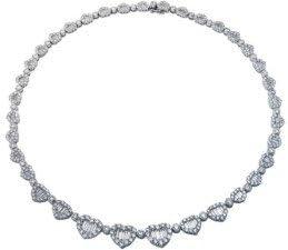 Collar con forma de corazón de diamante redondo y baguette en oro blanco de 18 quilates, 14,40 quilates F-VS