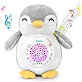 Samxic Baby White Noise Sound Machine & Shower Gift, Sleep Soother Stuffed Animal Penguin for Baby with Sleep Aid Night Light, 12 Baby-Soothing Sounds, Adjustable Volume, Auto-Off Timer