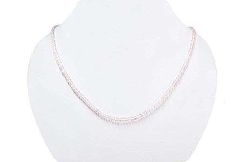 Natural Pink Rose quartz Faceted Roundel Beads Necklace Strand with Sterling Silver