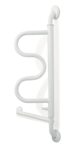Stander The Curve Grab Bar - Elderly Rotating Wall Mounted Ladder Assist Handle + Bathroom Grab Bar Toilet Aid