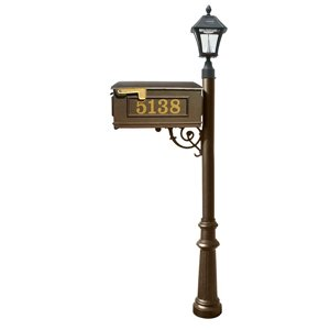 Mailbox w/Post Fluted Base & Solar Lamp, with Vinyl Numbers, Bronze (Bayview Solar Lamp)