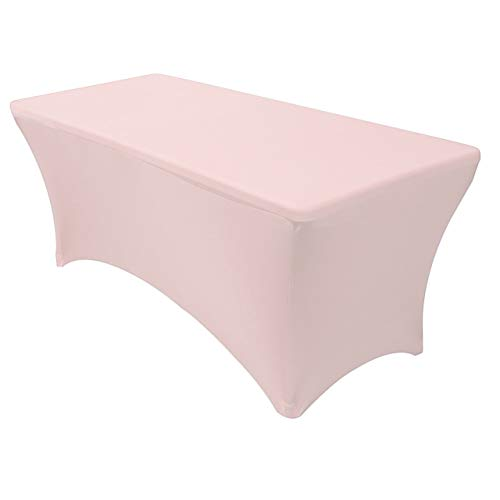 Cover Stretch Satin - Your Chair Covers - Rectangular Fitted Stretch Spandex Table Cover, Blush, 6' L
