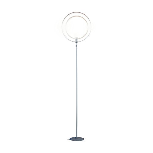 Brightech - Eclipse LED Floor Lamp - Rings of Light Bring Sci-Fi Ambiance to Contemporary Spaces - 28 Watts - Dimmable Bright Light - Silver Finish (Halo Lamp)