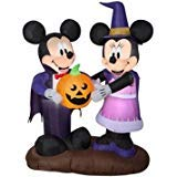 Airblown Inflatable 5 Ft Mickey Mouse Vampire and Minnie Mouse Witch Pumkin