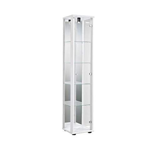 Vitrine 176x37x33 cm collection miniature couleur blanc avec 4 étagères en verre, avec éclairage et miroir