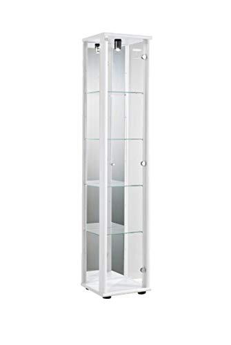 K-Möbel Glasvitrine Sammlervitrine Vitrine Beleuchtung Weiss mit Spiegel