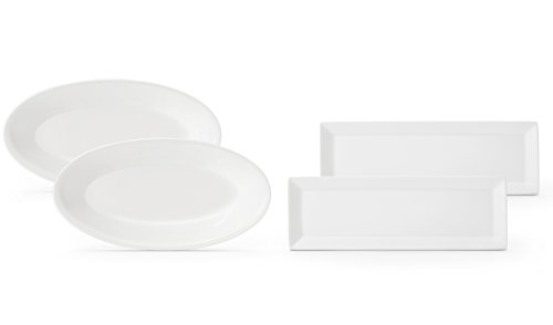 Mix of Porcelain Serving Platters/Plates - Oval and Rectangular - Set of 4 - 2 of each - White Timeless Design - Freezer, Microwave and Dishwasher Safe (Dish Rectangular Porcelain)