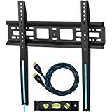 "Cheetah Mounts APFMSB TV Wall Mount Bracket for 20-55"" TVs Up To VESA 400 and 115 lbs including a Twisted Veins 10' HDMI Cable and a 6' 3-Axis Magnetic Bubble Level"