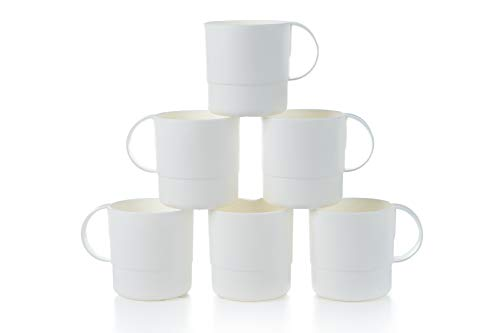 Amuse- Eco Friendly Sturdy Unbreakable & Stackable Mugs for Water, Coffee, Milk, Juice, Tea- Set of 6-11 oz (White) (Tea Unbreakable Set)