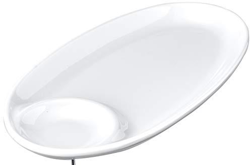 Travessa Oval com Porta Molho Gourmet Mix Branco