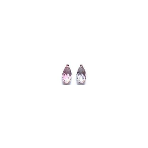Swarovski 6010 Briolette Drop Beads, Crystal Effects, Antique Pink, 6.5 by 13mm, 2 Per Pack (Briolette Pink Crystal)