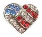 Puffy Heart Flag Pendant Charm (Puffy Patriotic Hearts)