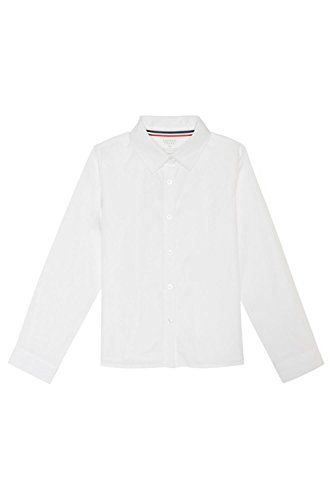 Pointed Collar Shirt (French Toast Big Girls' Long Sleeve Pointed Collar Short, White, 10)