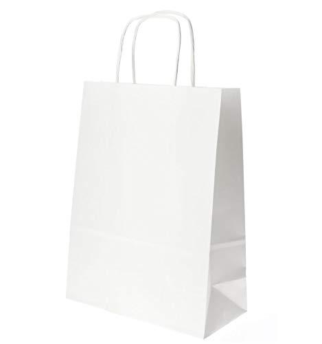takestop/® Busta Buste da Regalo 12 Pezzi Shoppers CC.9408 in Carta con Manici Bianco 26x12x34cm Sacchetti Sacchetto Festa Compleanno