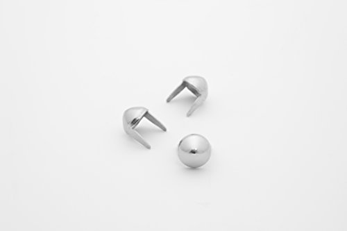 Cone Studs - Size 8 - Ideally used for Denim and Leather Work - Classic Two-Prong Studs - Silver Colored - Pack of 100 studs and spikes