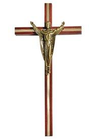 Walnut Finish Inlay Risen Christ Wall Cross
