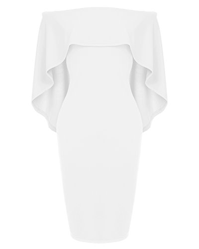 Womens Off The Shoulder Cocktail Party Dress Batwing Cape Midi Wrap Dress White