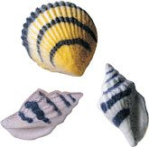 CakeSupplyShop Black Stripe Seashells Edible Sugar Decorations Cookie Cupcake Cake 16 Count