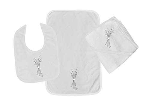 - Wedding Bouquet White Cotton Boys-Girls Baby Bib-Burb-Towel Set - White, One Size