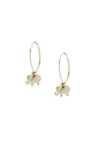 THE JEWEL RACK MINI ELEPHANT CHARM DANGLE HOOP EARRINGS (24k Elephant Earrings)