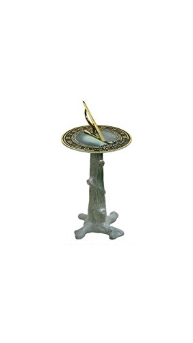 Rome B65 Tree Trunk Sundial Pedestal Base, Cast Iron with Painted Finish, 16-Inch Height