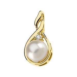 Jaune 14 carats Perles de culture d'eau douce et or et les diamants - 7 mm-JewelryWeb