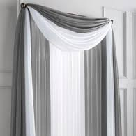 GorgeousHome 1 Silver Gray Swag Valance Scarf For Wedding Table Chair Window Wall Church Decor Pole Voile Fabric Size (6 YARD) 216 Inches Long ()