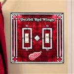 Memory Company Detroit Red Wings Art Glass Double Light Switch Cover (Switchplate Glass Glass Art)