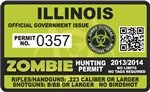 "Yellow Dog Illinois IL Zombie Hunting Permit Decal 4"" x 2.4"" Outbreak Sticker"