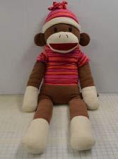 4 FOOT LONG SOCK MONKEY Brown Pink Red Striped Sweater BIG STUFFED ANIMAL TOY Dan Dee (Monkey Red Striped)