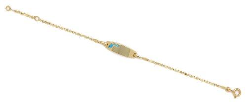 Or jaune 14 carats 175 cm DAUPHIN BLEU bébé en émail-JewelryWeb Bracelet d'identité