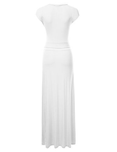 Front NINEXIS V Maxi ivory Women's Awdmd0185 Cap Sleeve Dress Neck Waist Wrap 0r0F5