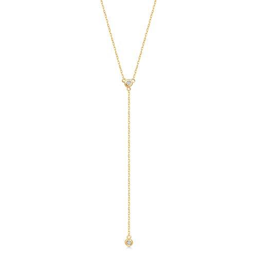 GELIN 14k Yellow Gold 0,02 ct Diamond Teardrop Pendant Y Necklace for Women, Surprise Fine Jewellery,18 inch