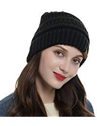 Womens Knit Cable Beanie - Warm Cable Knit Beanie Soft Winter Stretch Chunky Beanie Hats for Women and Men