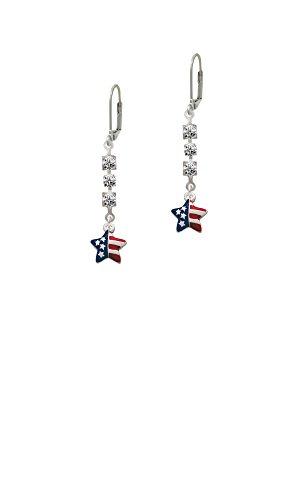 Crystal Patriotic Star - Mini USA Patriotic Star - Crystal Madison Leverback Earrings