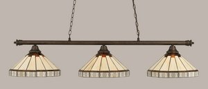 Toltec Lighting 373-BRZ-964 Oxford - Three Light Billiard, Bronze Finish with Honey/Brown Mission Glass