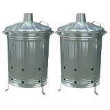 2 x 90 LITRE METAL GALVANISED INCINERATOR GARDEN FIRE BIN DUSTIBIN LEAVES WOOD PAPER RUBBISH Fastcar