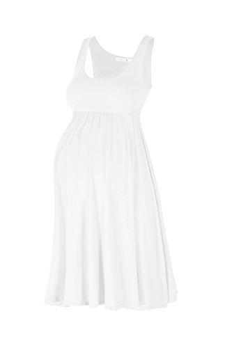 Beachcoco Women's Maternity Knee Length Tank Dress (XL, Off White (Slightly See Through))