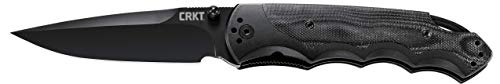 CRKT Fire Spark EDC Folding Pocket Knife: Assisted Opening Everyday Carry, Spear Point Black Blade, Fire Safe Thumb Stud, Locking Liner, Aluminum and G10 Handle, 4-Position Pocket Clip 1050K
